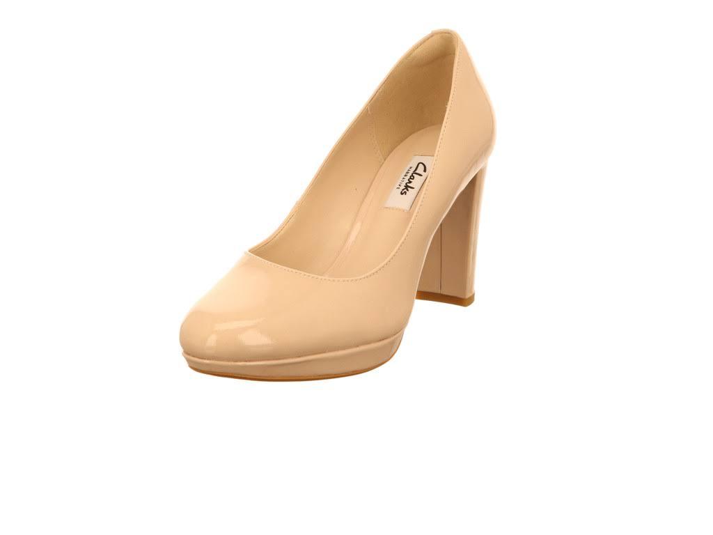Clarks Closed 5 Patent Nv 3 Dames Heels Beige Leathernude DEYeW29IH