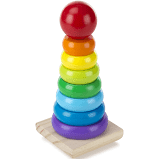 Melissa & Doug Wooden Rainbow Stacker Classic Toy for 18+ months