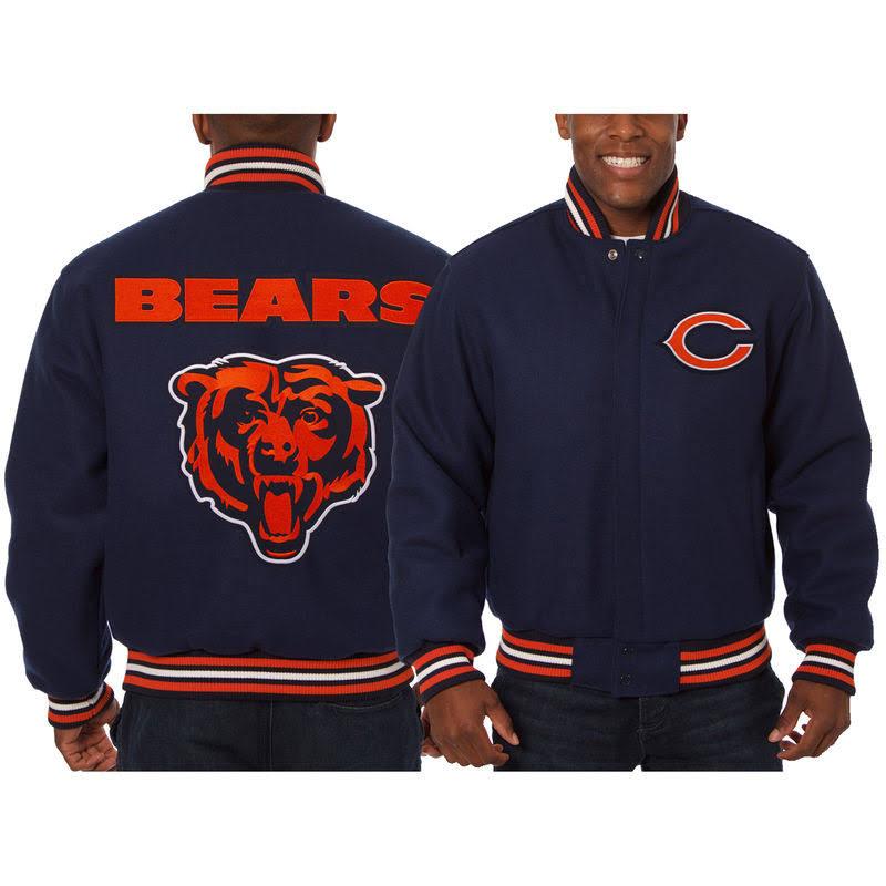Bordada De Azul Lana Hombre Chicago Design Jh Chaqueta Para Marino Bears gE41nF4A