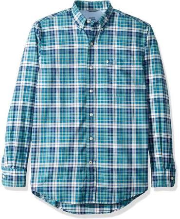 Para Oxford Manga De Izod Newport Larga Hombre Cuadros Camisa A q80SC