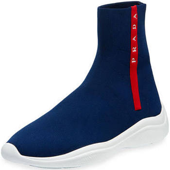 Para Deporte Mujer 5eu De Sock Royal negro Zapatillas top Prada Trainer Knit High 39 Blanco Rojo 71SxnUO