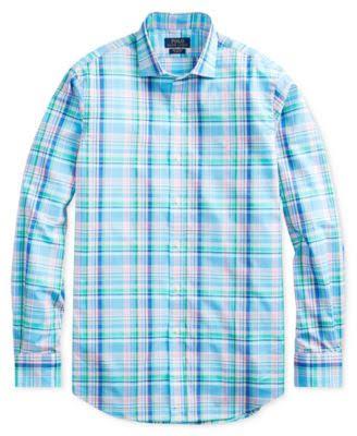 Kleid Ralph Plaid Polo Baumwollhemd Fit Slim Blau Xs Lauren x4THqFwvO