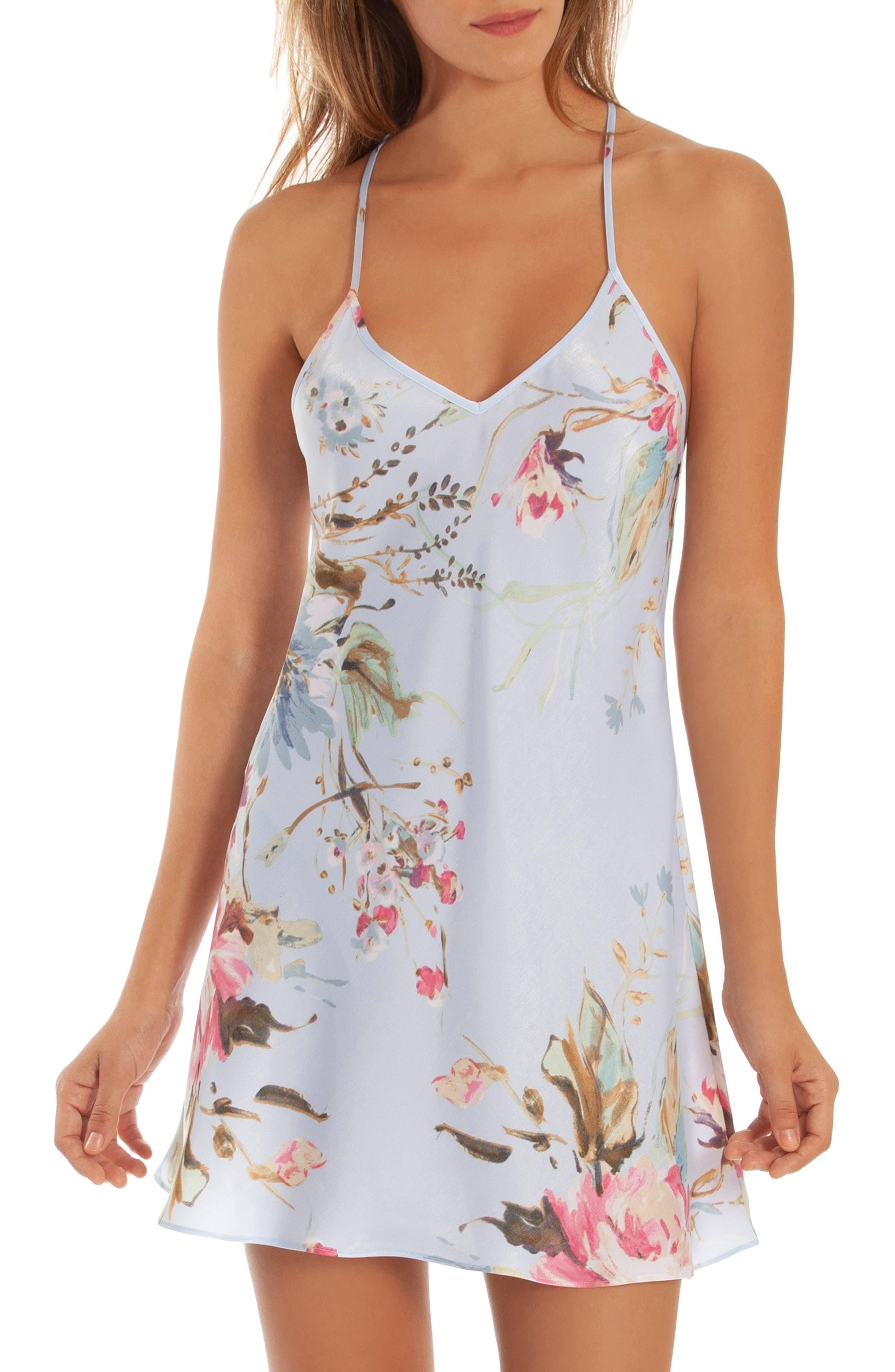 Azul De Floral Cielo Tamaño Zinnia Encaje Satén Mujer In Grande Con Vestido Para Bloom qvwP5Rdq7