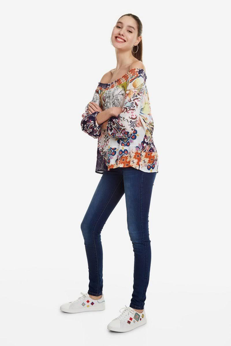 Color Estampado Hombro Con Blusa Mujeres De Multicolor Desigual xqYwa6C