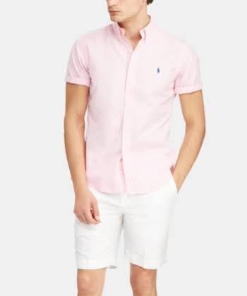 Slim Camisa Para Ralph Polo De Fit Carmel Sarga Lauren Algodón Rosa Color Hombre FZtFpq8Ww