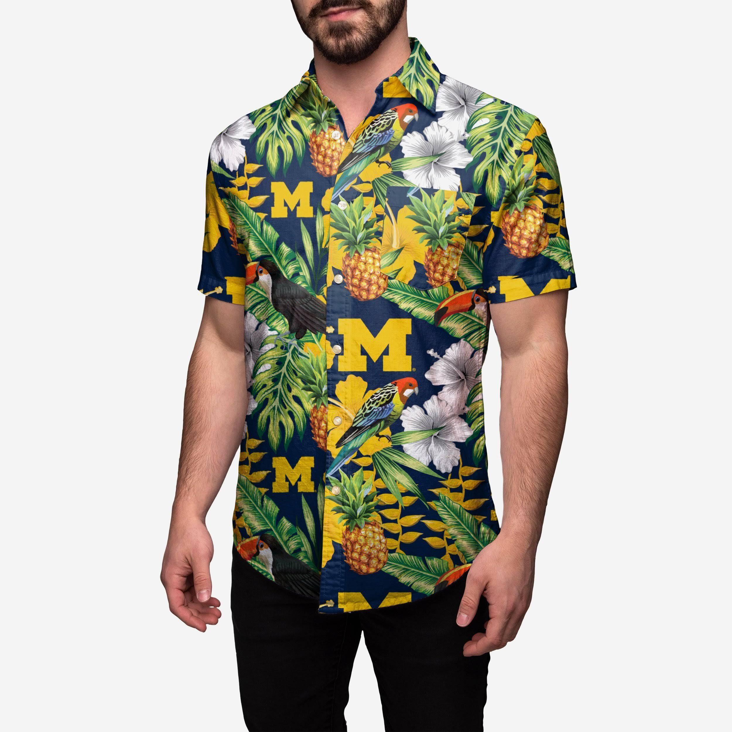 Botones Hombre Michigan De Y Con Wolverines Para Camisa Ncaa v6wPn