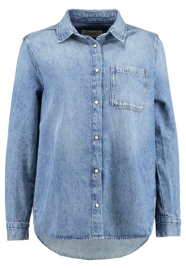 Buttondown Denim Claro Tamaño Azul Blusa Pequeño Mujer Wini American Vintage Claro Para vUqxEAPH7w
