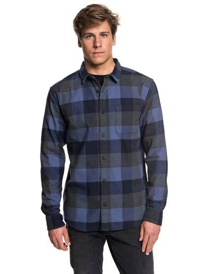 Camisa De Talla Quiksilver Hombres Manga Elástica Azul Xl Franela Larga ACAqwrx8na