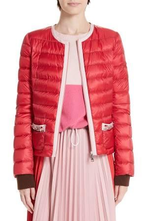 Chaqueta Cremallera Rojo Mujer 4 Cristalline Y Con Bolsillo Moncler Para rw5ZHrSnq
