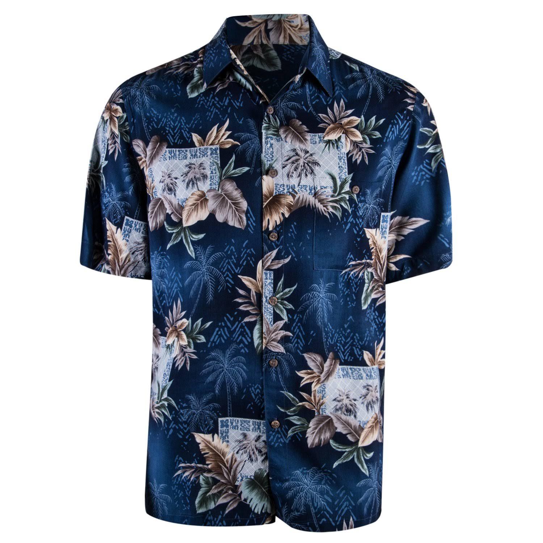 M Informal Campia Marino Azul Botones Camisa Rayon Leaves Palms Con wqxqSZ0Y