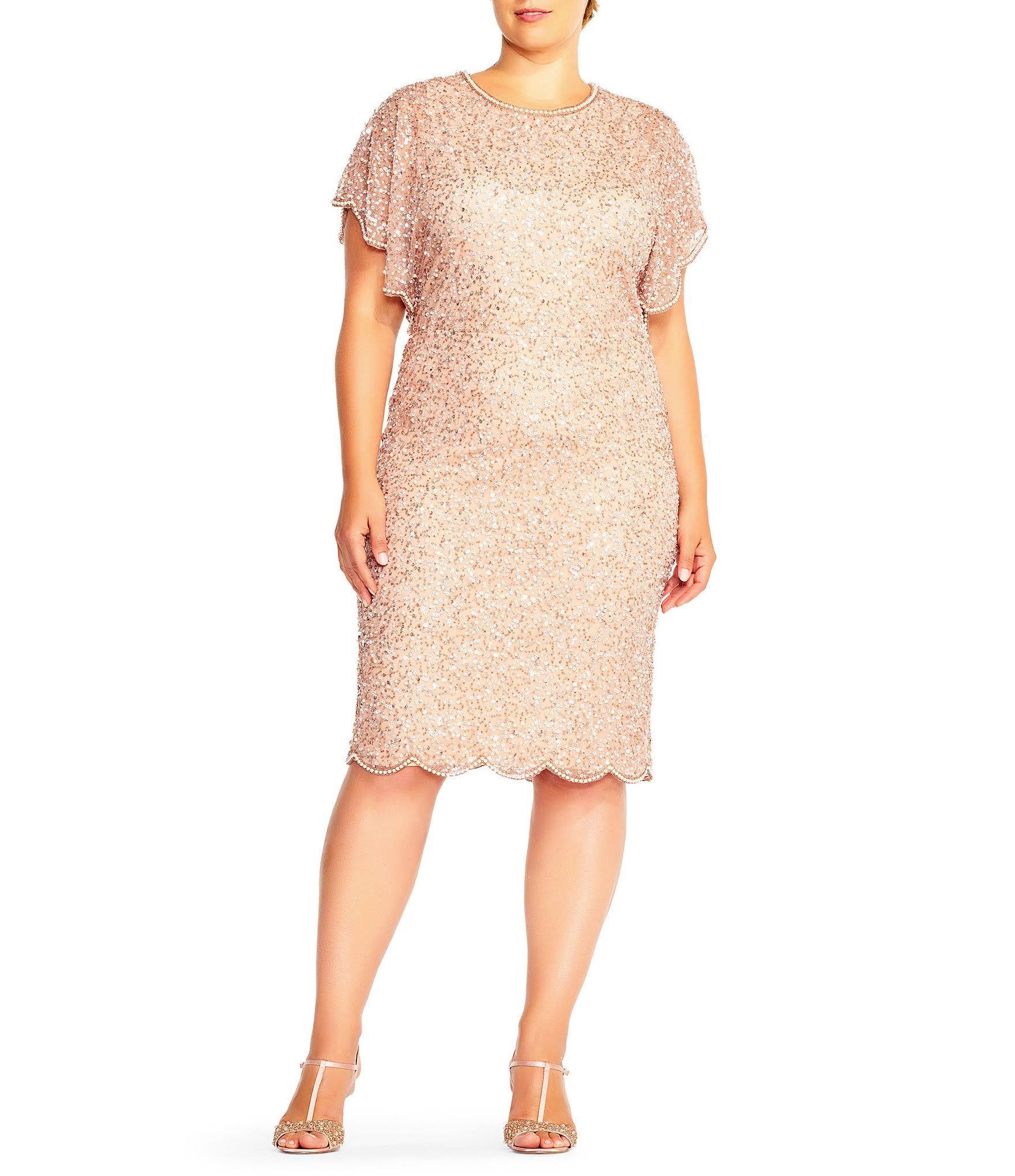 Papell Perlenbesatz Flatterhülse Plus Kleid Rotgold Und Adrianna Mit PwgqPd