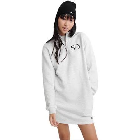 Superdry Edit Quarter Zip Sweat Dress in Light Grey (Size: 12)  rwQIK2W