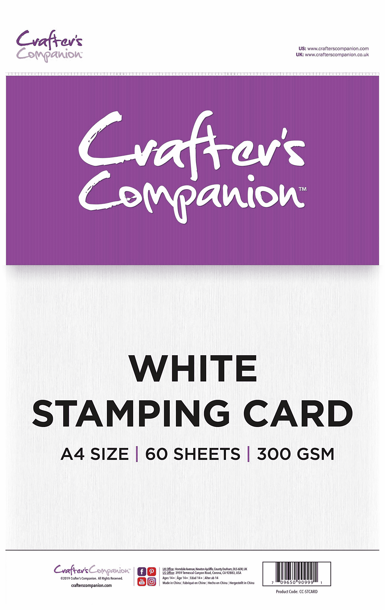 Crafter's Companion A4 White Stamping Card