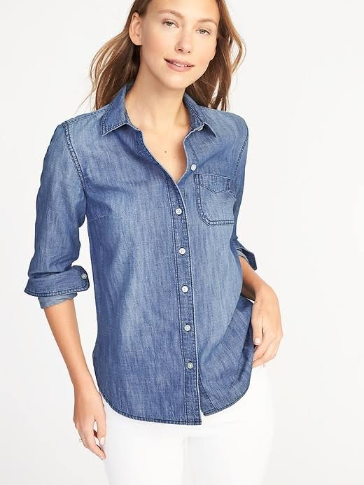 Classic Wash Navy Medium Frauen Xs Chambray Shirt Old Größe EYqBZ6wE