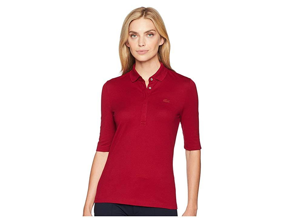 piqué poloshirt Bordeaux Lacoste Fit Slim Damen Stretch mini qTXUq