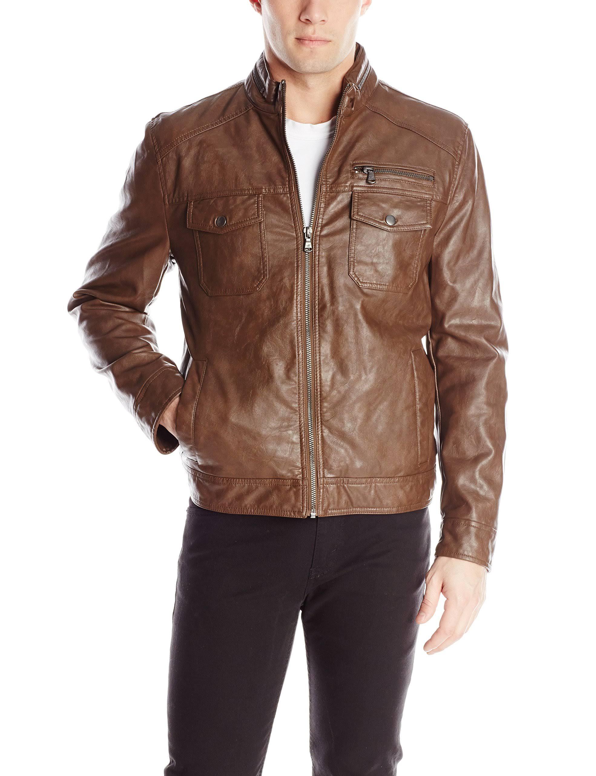 chaqueta Para Kenneth Hombre Cole Reaction Sintética Moto Piel Almendra De 6tHtTqcR