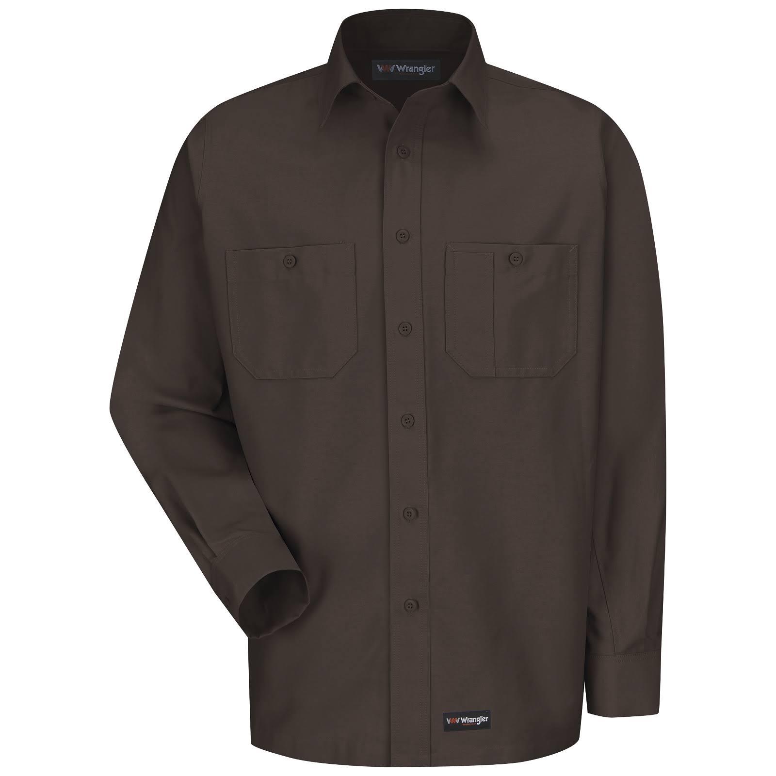 Lona De Trabajo Camisa Hombres Manga s Larga para Marrón qwFdEEzB