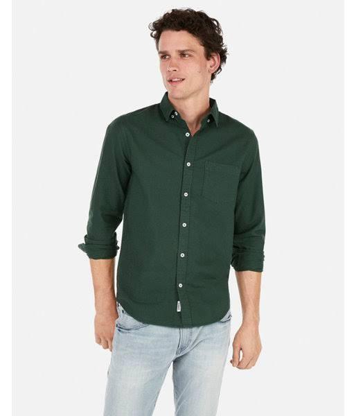 Weich Herren Schlankes Oxford Regular Grün hemd S Gewaschenes Gefärbtes Tzwgdwqa