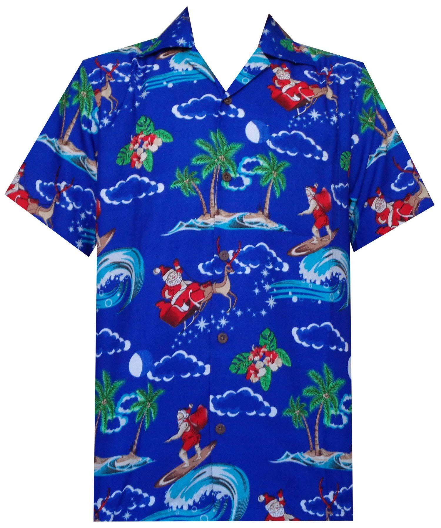 Hombre Hawaiana Claus Navidad Blue Fiesta Beach Santa Holiday Para De Aloha Camisa EAqdcHwE