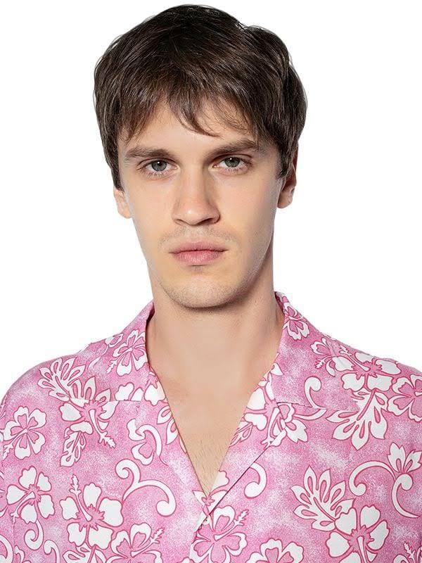 Para Blanco Rosa 44 Dsquared2 Viscosa Floral Estampada De Hombres Camisa Bolos vw4qF1a