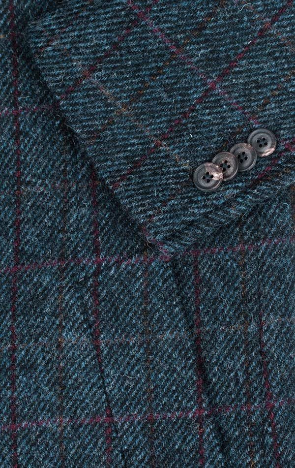 Harris Tweed Mantel Karierter Blue Windowpane wXgr6OqFAX