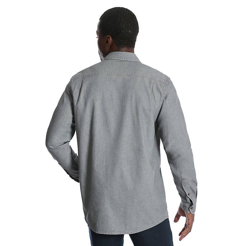 Twill größe Shirt Small Wrangler Herren Langarm Grau Denim qECEwp7
