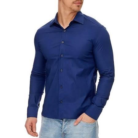 Tazzio Fashion Manga Clásica Para Camisa Larga Azul Hombre Marino De 0R6wqY