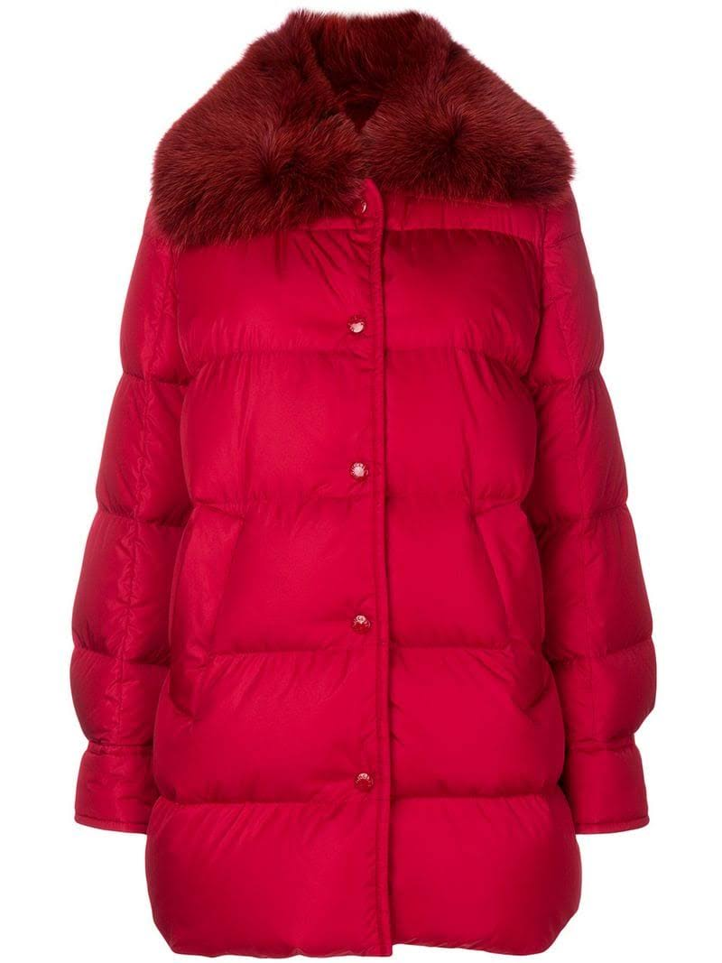 Fur Moncler W Collar Red Coat Puffer Mesange qwTPI