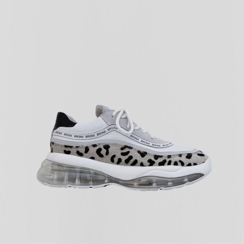 Bronx Sneaker Bubbly Sneaker Suede / Leather Black / White / Light grey / Dalmatian print , Size 39 female