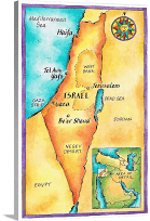 Map of Israel | Large Solid-Faced Canvas Wall Art Print | Great Big Canvas