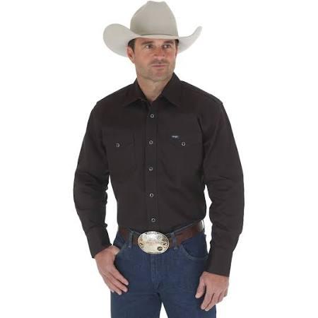 Larga Cowboy Wrangler Camisa Western Para amp; Negro Cut 2x Big Tall Hombre Manga Work qU85TqnC