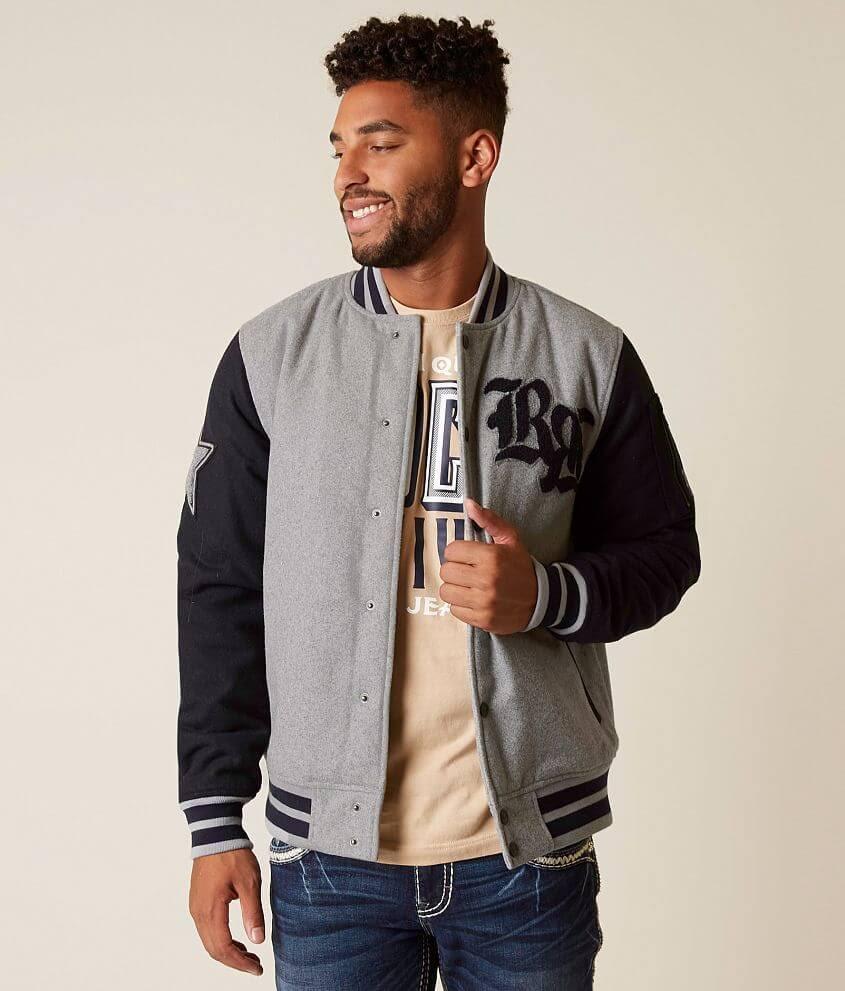 Rock Revival Grey Jacket Small Hombre Varsity O0T8xO