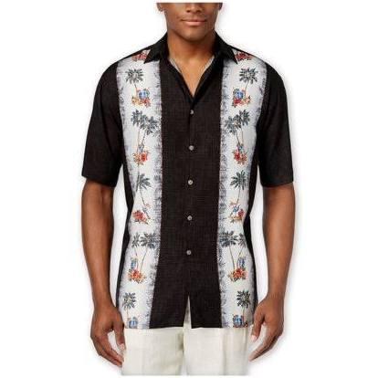 Floral Para Camisa Negra Con Campia De Abotonada Moda Hombre Botones Borde xxFg4wIq8