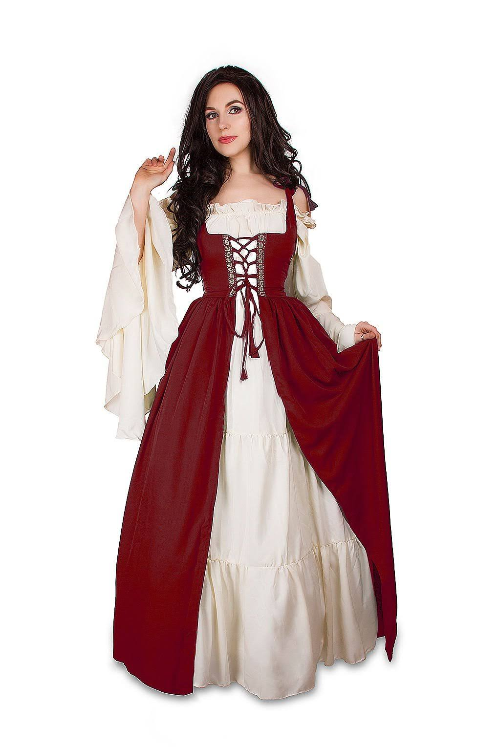 Set Costume Chemise Dress Cream Over Medieval Renaissance Mythic Irish amp; qpnwf7qSz