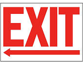"""Exit"" Arrow Left Sign - Vinyl, Adhesive-Backed - ULINE Canada - S-19209V"