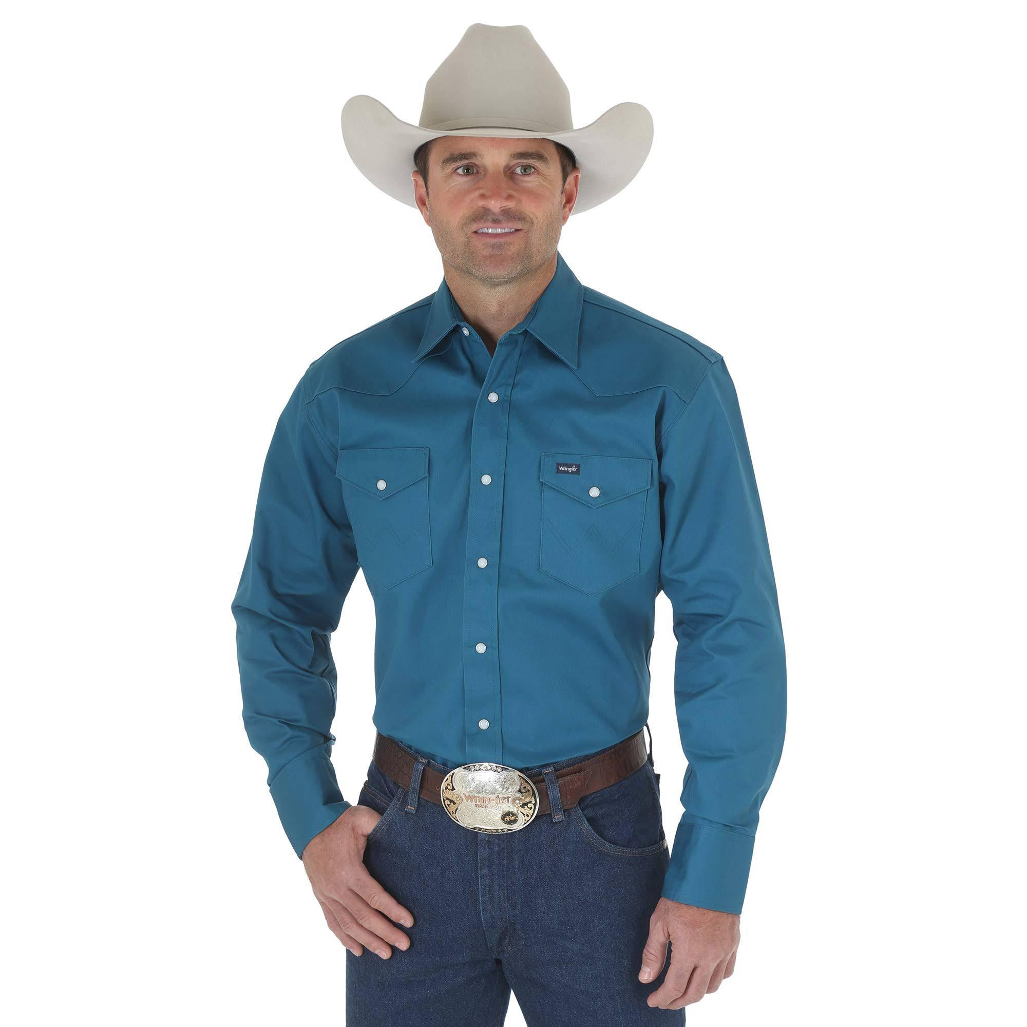 Herren Firm Arbeitshemd Wrangler Langärmliges Cowboy Cut qOqpa