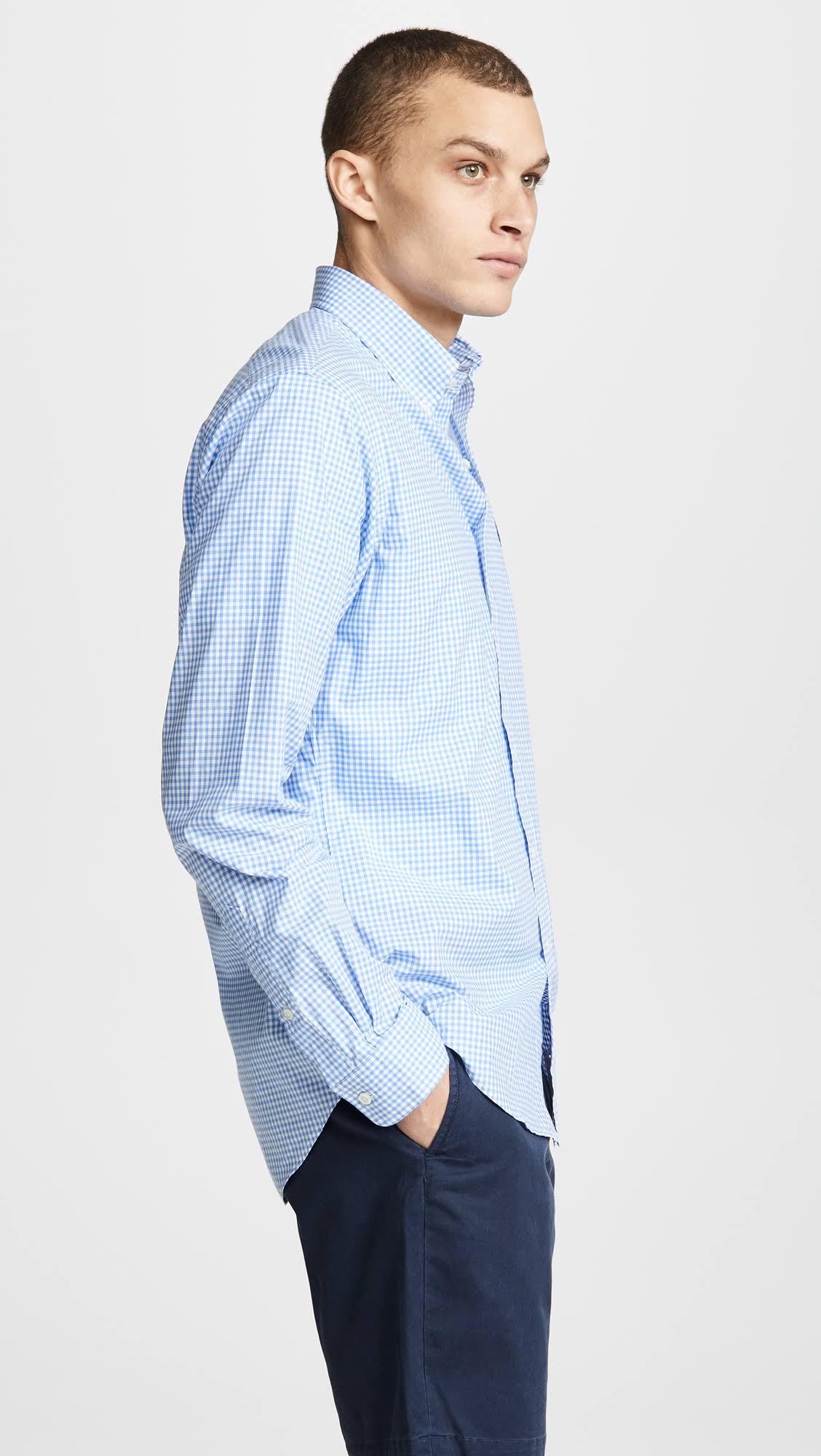 Polo Con Ralph Poplin Ajustada Azul Camisa Botones Lauren TSTX4BqHr