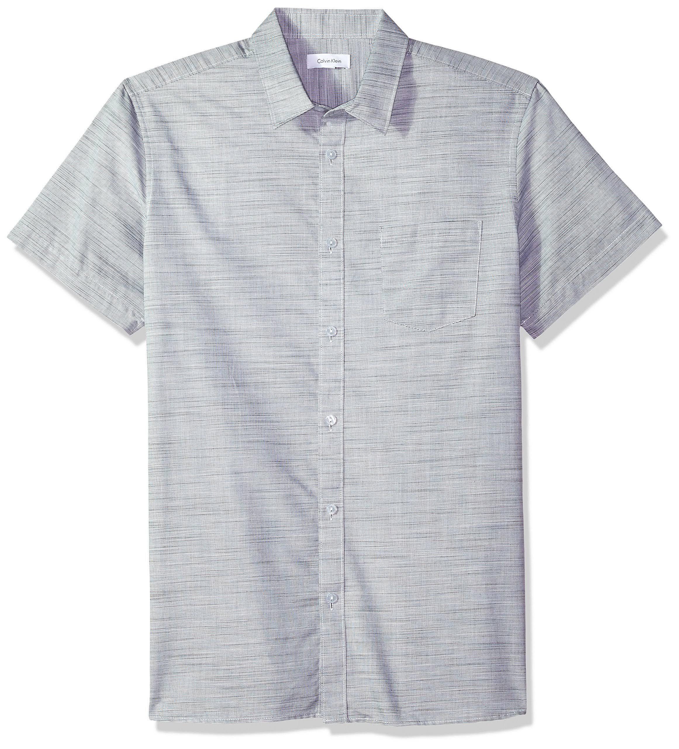 down hemd Gewebtes Kurzärmliges Klein Calvin Herren Button ftqHYxXw