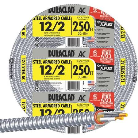 Southwire,55274901,600-Volt 250 ft. 12/2 Duraclad Type AC Lightweight Steel Armored Cable, M79137