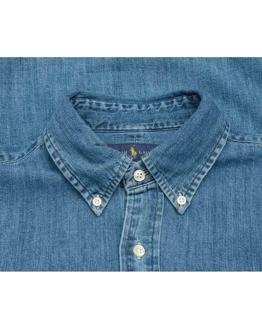 Vaquera Oscuro Con Slim Y Lauren Camisa Ralph Corte Polo Botones Lavado tpqFBB