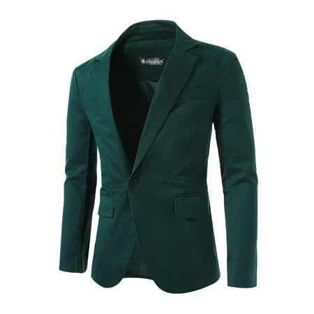 tamaño De Solapa Verde L Hombre Azzuro Notch Traje Clásico Blazer Para 42 qTE8wT