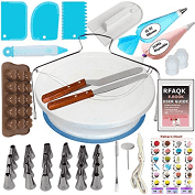 Kit de Pâtisserie avec 69 Ustensiles de RFAQK | Plateau Présentoir à Gâteaux Tournant pour Glaçage et Déco, Poches et Douilles, Spatules, Cornes et
