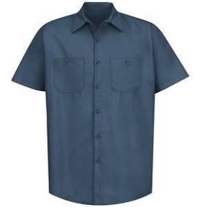 Sólido M De Corta Oscuro Sp24 Kap Trabajo Azul Camisa Industrial Roja Manga PAwESxUqx