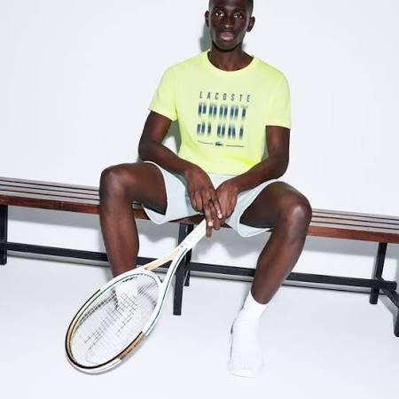 Blue T Yellow Rundhalsausschnitt Herren Sport Mit Flashy shirt Lacoste wxq8gEnpn
