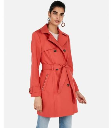 Naranja L Mujer Express Breasted Classic Double Trench qTwWHIBO