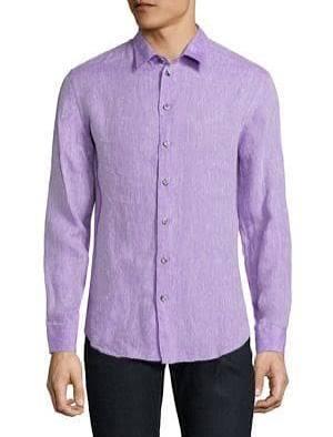 Ajuste Collezioni Botones Morado Armani Regular Flax De Camisa Con IwRwA1xUq