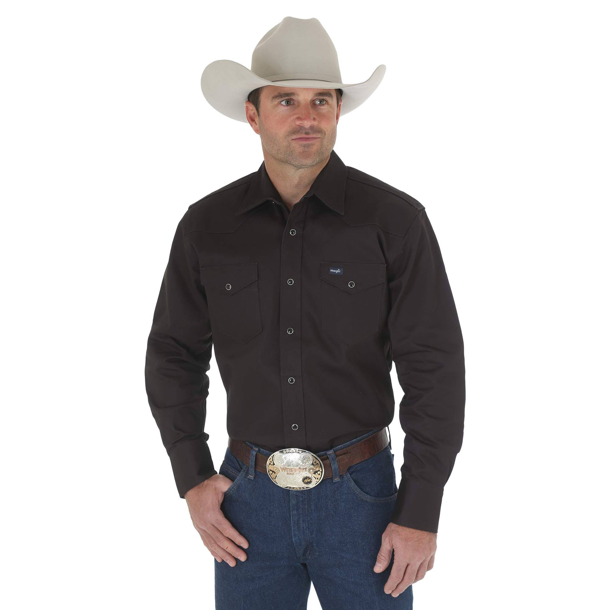 Medio Authentic Negro De Larga Regular Camisa Firme Work Western Cut Con Para Hombre Wrangler Cowboy Manga Acabado 458T6xwZn