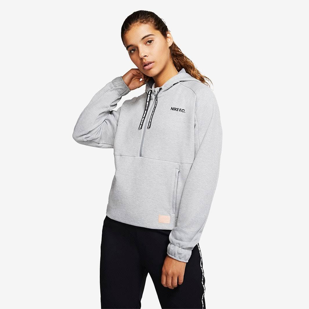 Nike F.C. Womens Dry Hoodie HZ Cool Grey Htr Black Black